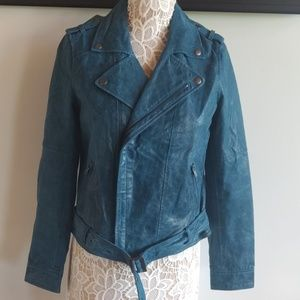 Newport news turquoise leather Moto jacket 8